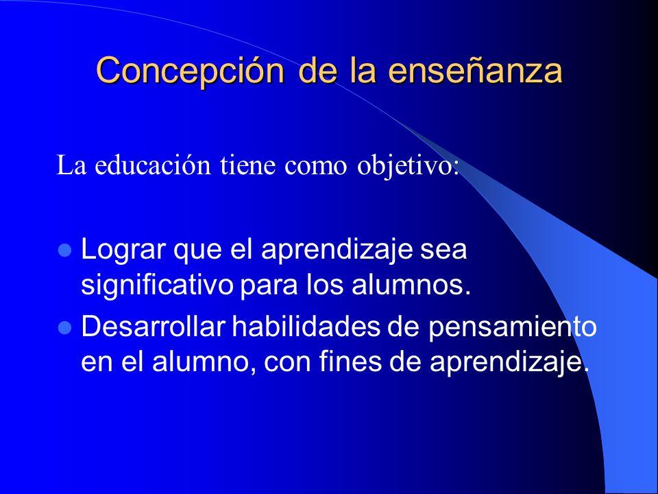 Concepción de la enseñanza La educación tiene como objetivo: Lograr que el aprendizaje sea significativo para los alumnos. Desarrollar habilidades de