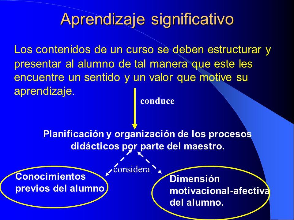 Aprendizaje significativo Los contenidos de un curso se deben estructurar y presentar al alumno de tal manera que este les encuentre un sentido y un v