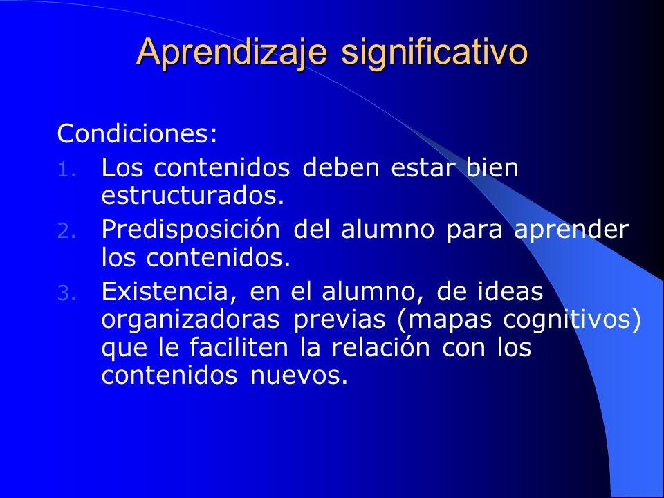 Aprendizaje significativo Condiciones: 1. Los contenidos deben estar bien estructurados. 2. Predisposición del alumno para aprender los contenidos. 3.