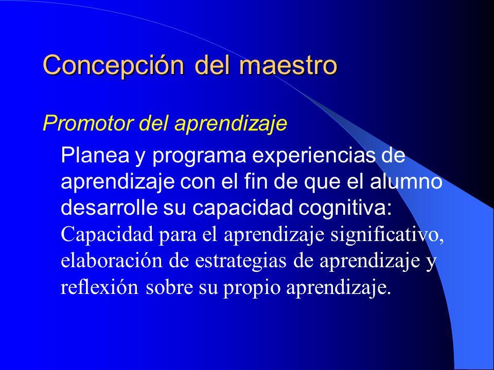 Concepción del maestro Promotor del aprendizaje Planea y programa experiencias de aprendizaje con el fin de que el alumno desarrolle su capacidad cogn
