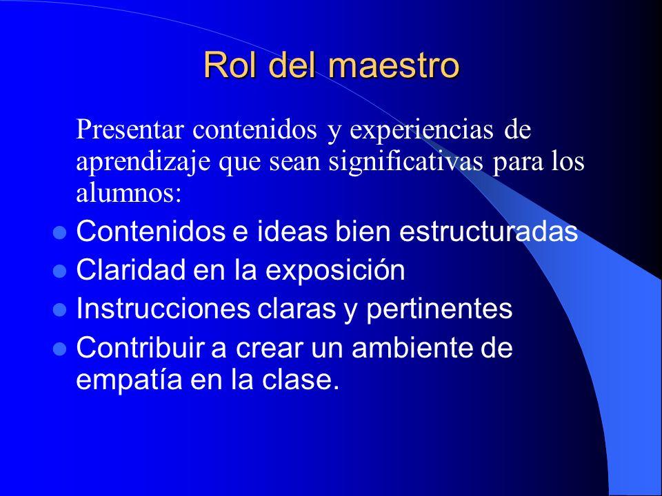 Rol del maestro Presentar contenidos y experiencias de aprendizaje que sean significativas para los alumnos: Contenidos e ideas bien estructuradas Cla