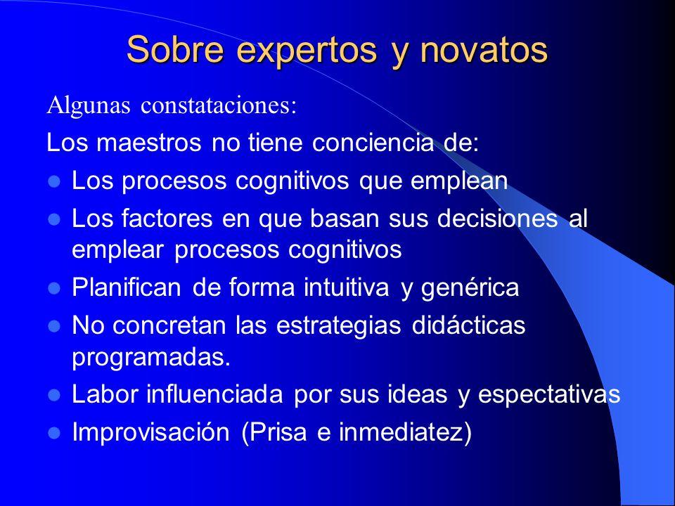 Sobre expertos y novatos Algunas constataciones: Los maestros no tiene conciencia de: Los procesos cognitivos que emplean Los factores en que basan su