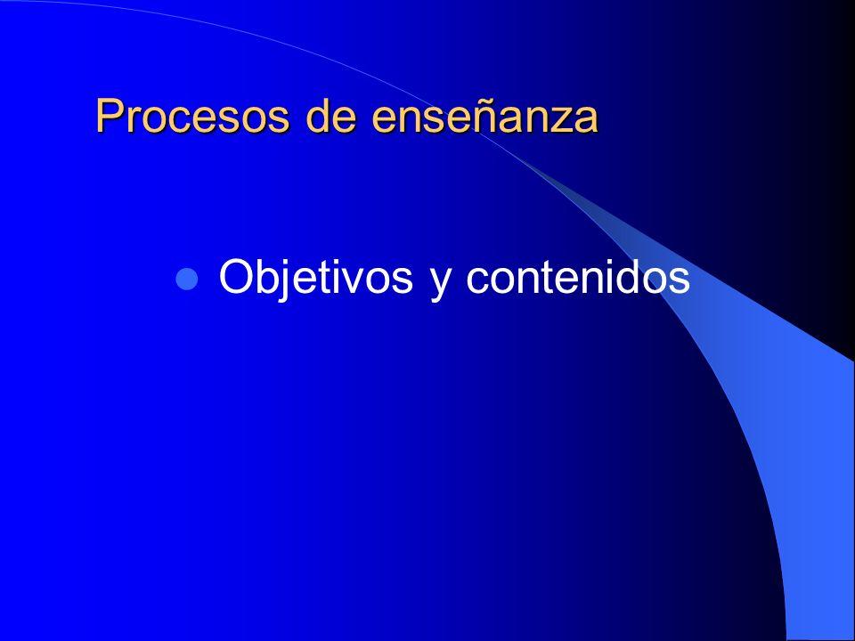 Procesos de enseñanza Objetivos y contenidos
