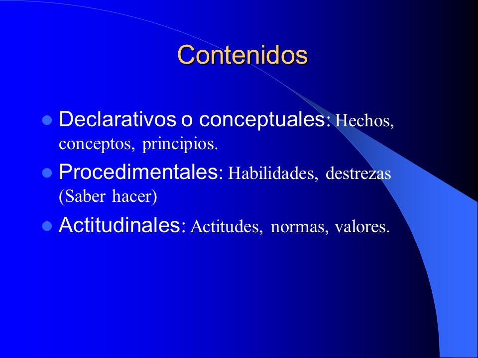 Contenidos Contenidos Declarativos o conceptuales : Hechos, conceptos, principios. Procedimentales : Habilidades, destrezas (Saber hacer) Actitudinale
