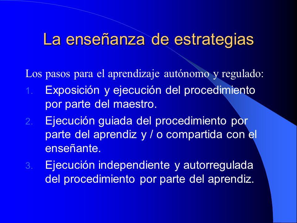 La enseñanza de estrategias Los pasos para el aprendizaje autónomo y regulado: 1. Exposición y ejecución del procedimiento por parte del maestro. 2. E
