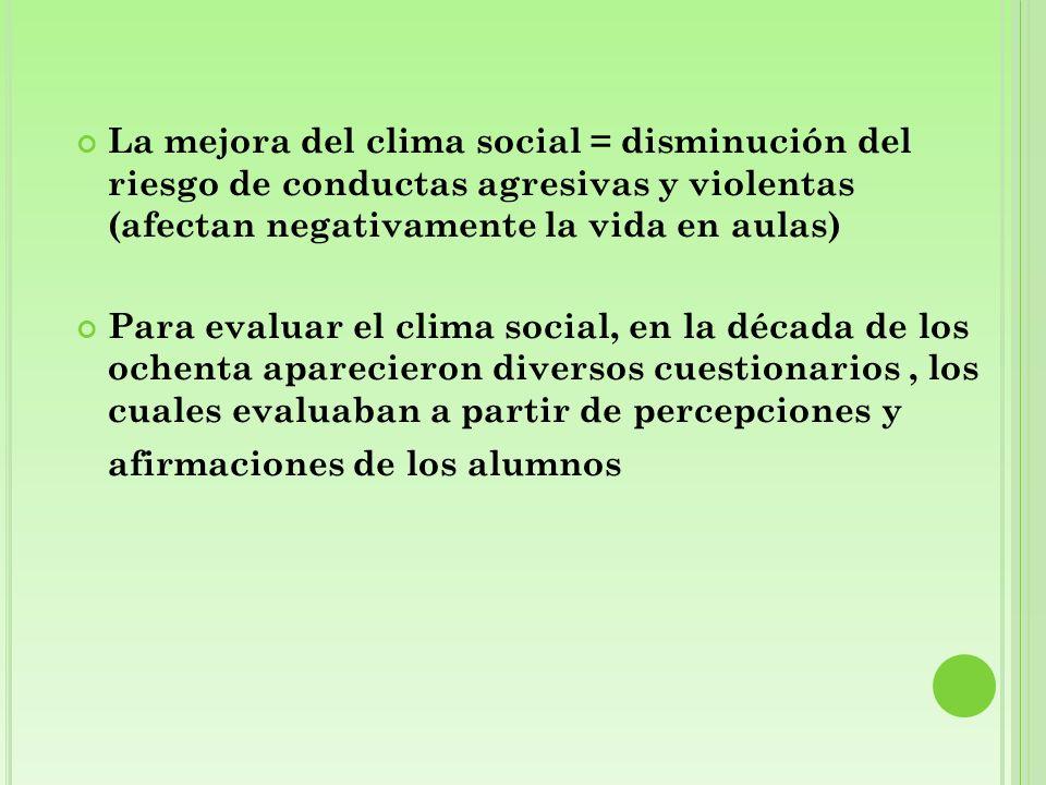 La mejora del clima social = disminución del riesgo de conductas agresivas y violentas (afectan negativamente la vida en aulas) Para evaluar el clima