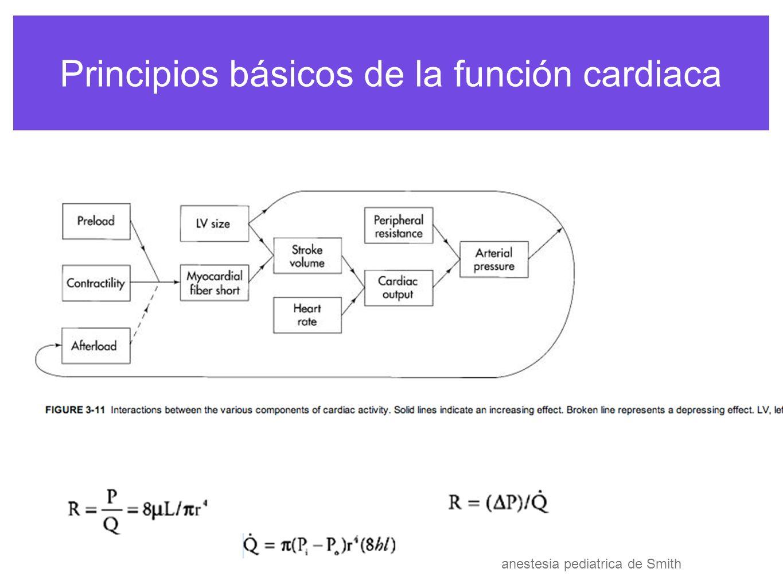 Principios básicos de la función cardiaca anestesia pediatrica de Smith PVR neonatos SVR 10-15 w y 20 infancia