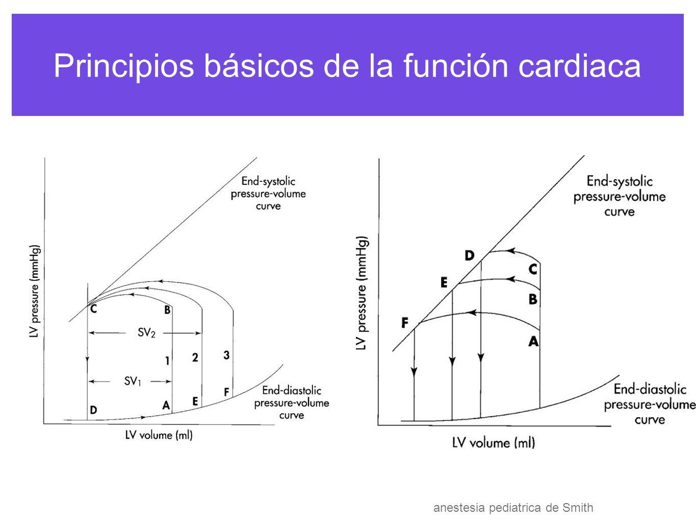 Principios básicos de la función cardiaca La pendiente del volumen de fin de sistole medida de la contractibilidad cardiaca con VFD >y < contractibilidad se SV por eso se debe postcarga anestesia pediatrica de Smith