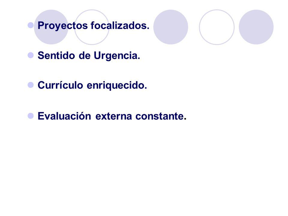 Proyectos focalizados. Sentido de Urgencia. Currículo enriquecido. Evaluación externa constante.