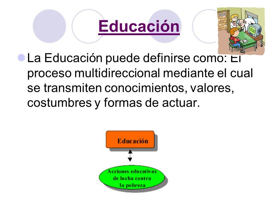 Educación La Educación puede definirse como: El proceso multidireccional mediante el cual se transmiten conocimientos, valores, costumbres y formas de