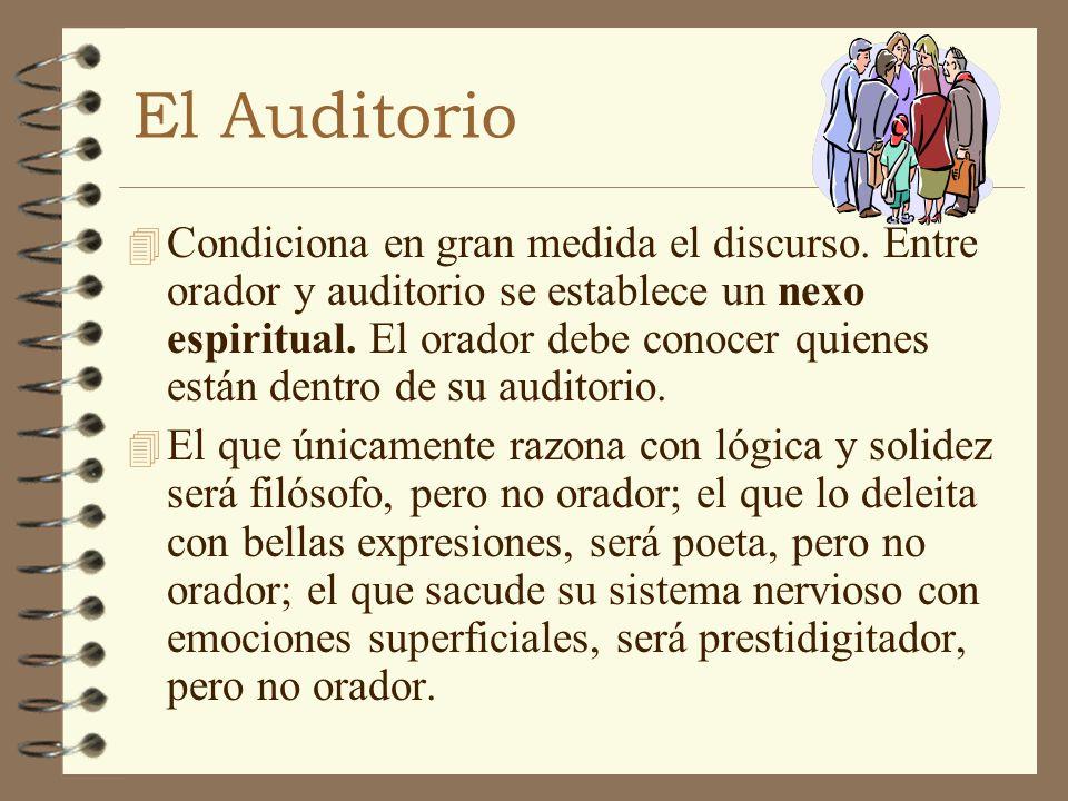 El Auditorio 4 Condiciona en gran medida el discurso. Entre orador y auditorio se establece un nexo espiritual. El orador debe conocer quienes están d