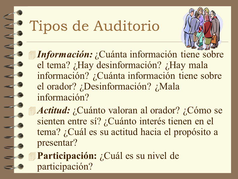 Tipos de Auditorio 4 Información: ¿Cuánta información tiene sobre el tema? ¿Hay desinformación? ¿Hay mala información? ¿Cuánta información tiene sobre