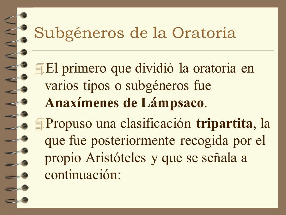 Subgéneros de la Oratoria 4 El primero que dividió la oratoria en varios tipos o subgéneros fue Anaxímenes de Lámpsaco. 4 Propuso una clasificación tr