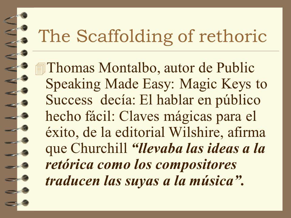 The Scaffolding of rethoric 4 Thomas Montalbo, autor de Public Speaking Made Easy: Magic Keys to Success decía: El hablar en público hecho fácil: Clav