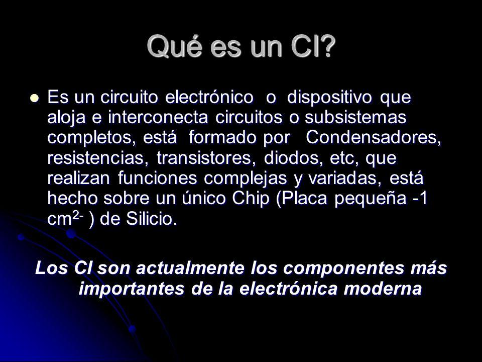 Qué es un CI? Es un circuito electrónico o dispositivo que aloja e interconecta circuitos o subsistemas completos, está formado por Condensadores, res