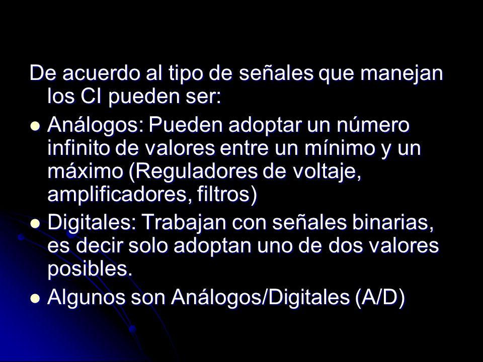 De acuerdo al tipo de señales que manejan los CI pueden ser: Análogos: Pueden adoptar un número infinito de valores entre un mínimo y un máximo (Regul