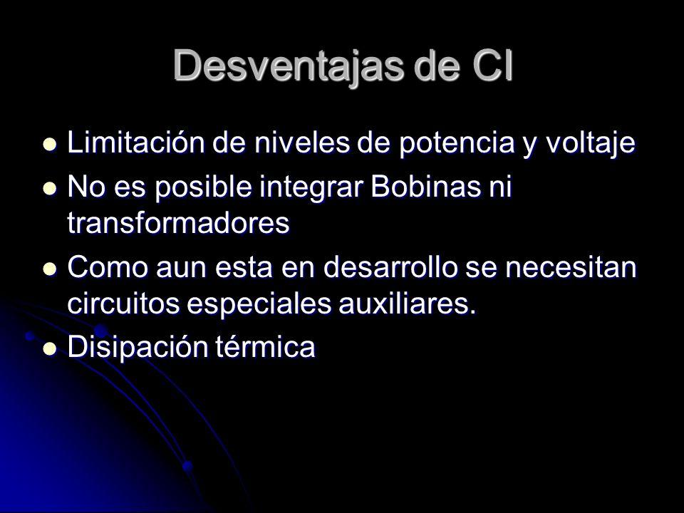 Desventajas de CI Limitación de niveles de potencia y voltaje Limitación de niveles de potencia y voltaje No es posible integrar Bobinas ni transforma