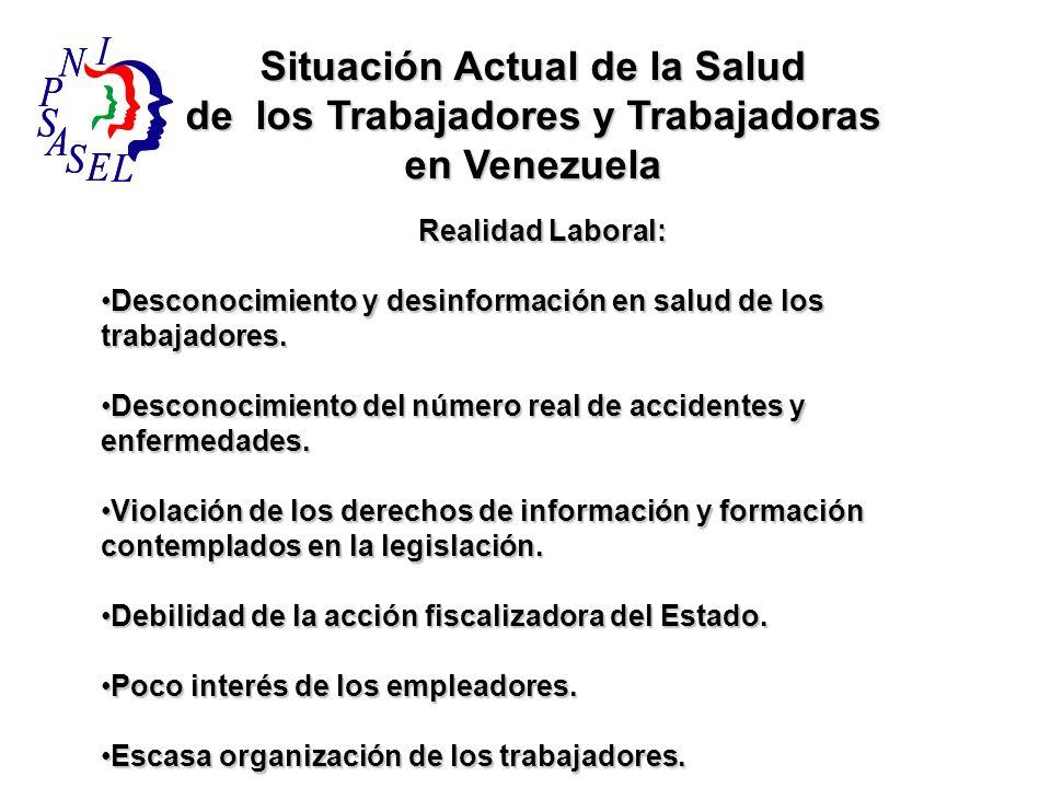 Situación Actual de la Salud de los Trabajadores y Trabajadoras en Venezuela Realidad Laboral: Desconocimiento y desinformación en salud de los trabaj
