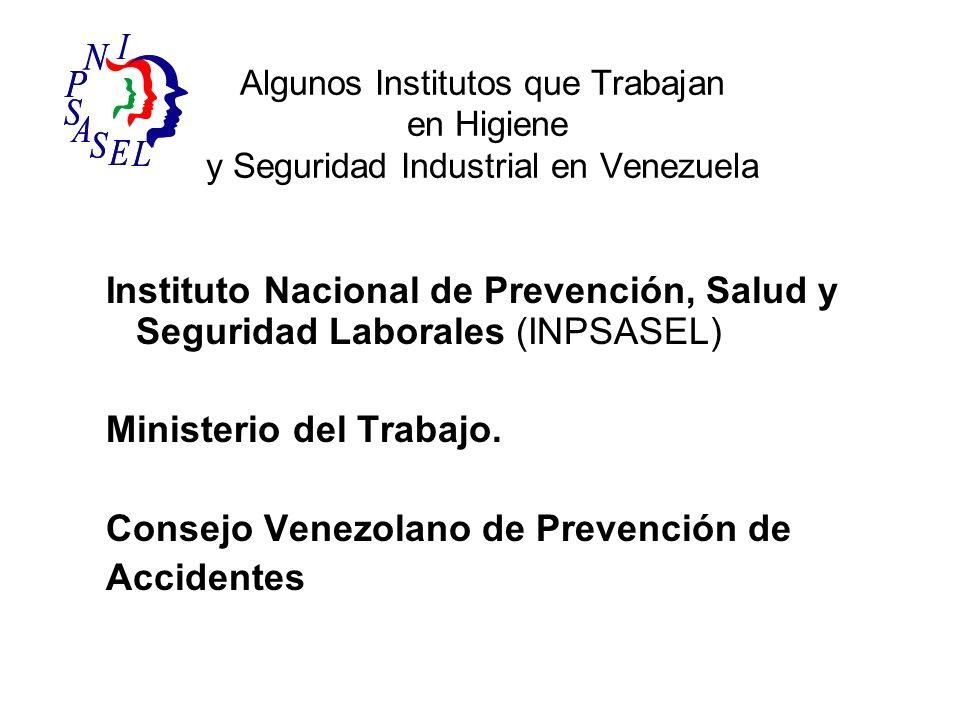 Algunos Institutos que Trabajan en Higiene y Seguridad Industrial en Venezuela Instituto Nacional de Prevención, Salud y Seguridad Laborales (INPSASEL