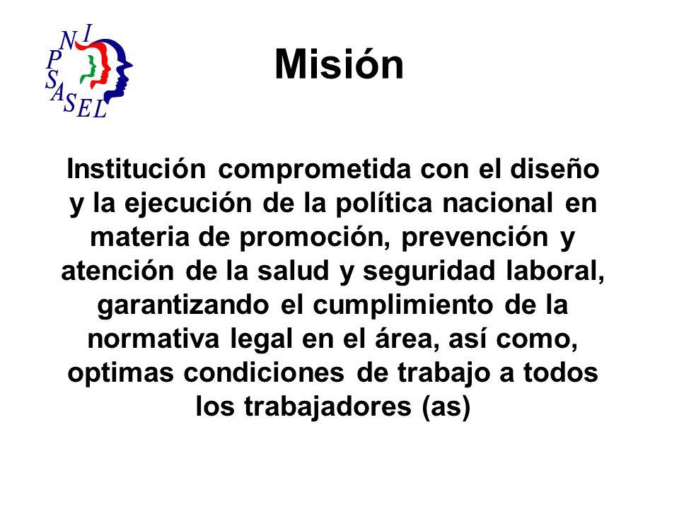 Misión Institución comprometida con el diseño y la ejecución de la política nacional en materia de promoción, prevención y atención de la salud y segu