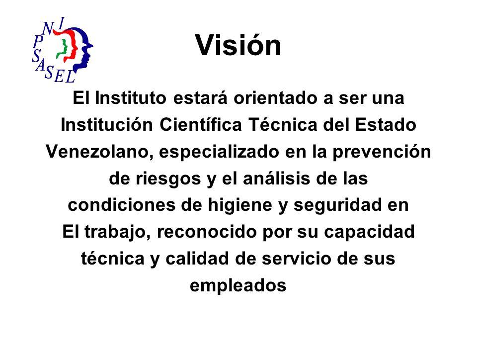 Visión El Instituto estará orientado a ser una Institución Científica Técnica del Estado Venezolano, especializado en la prevención de riesgos y el an