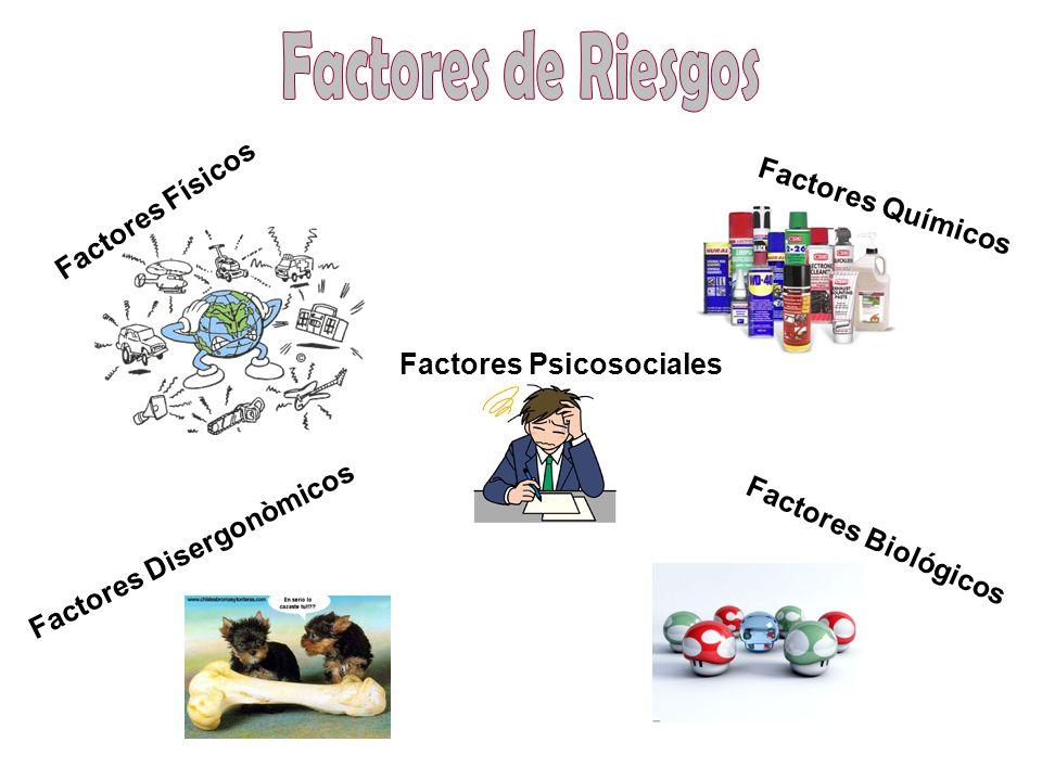 Factores Físicos Factores Químicos Factores Psicosociales Factores Disergonòmicos Factores Biológicos