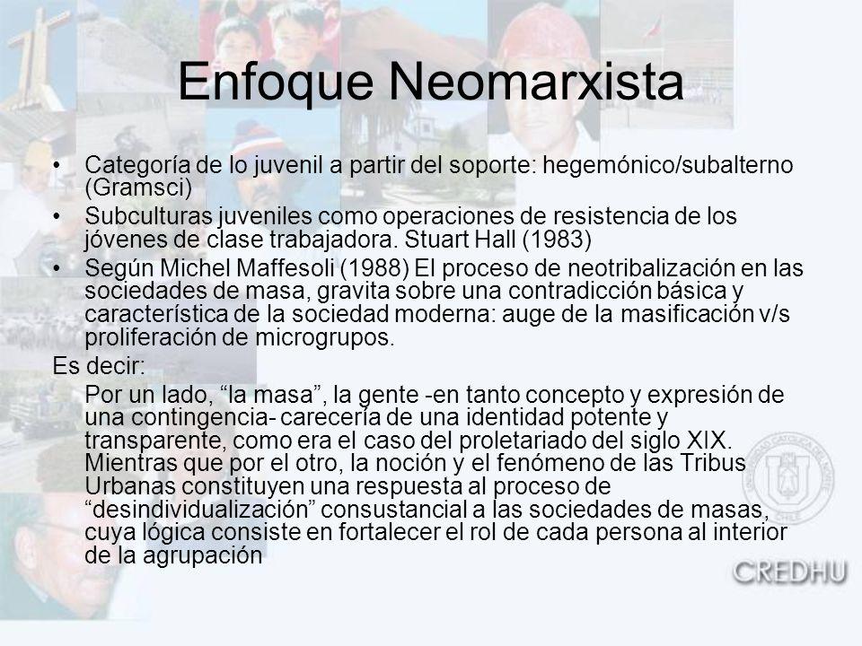 Enfoque Neomarxista Categoría de lo juvenil a partir del soporte: hegemónico/subalterno (Gramsci) Subculturas juveniles como operaciones de resistenci