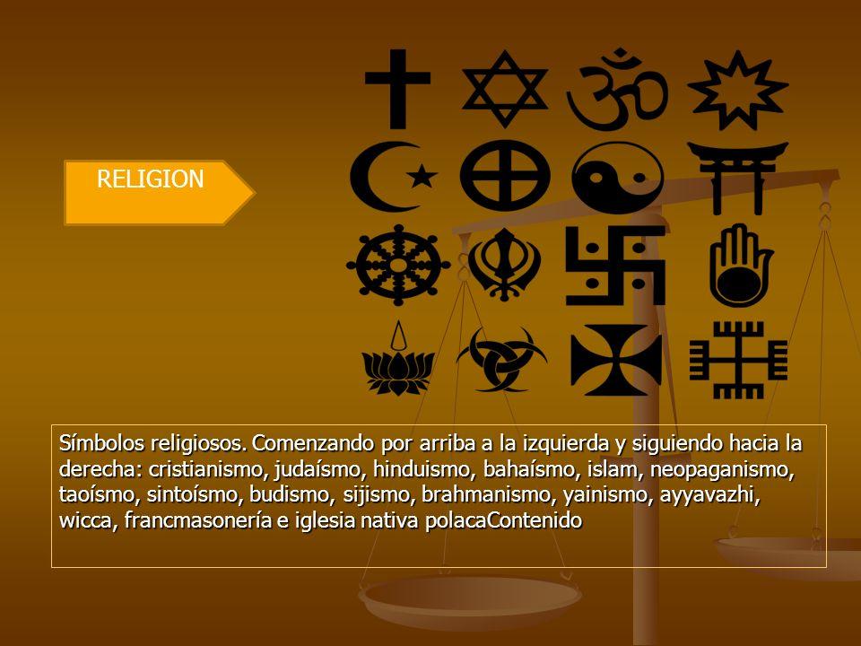 Símbolos religiosos. Comenzando por arriba a la izquierda y siguiendo hacia la derecha: cristianismo, judaísmo, hinduismo, bahaísmo, islam, neopaganis