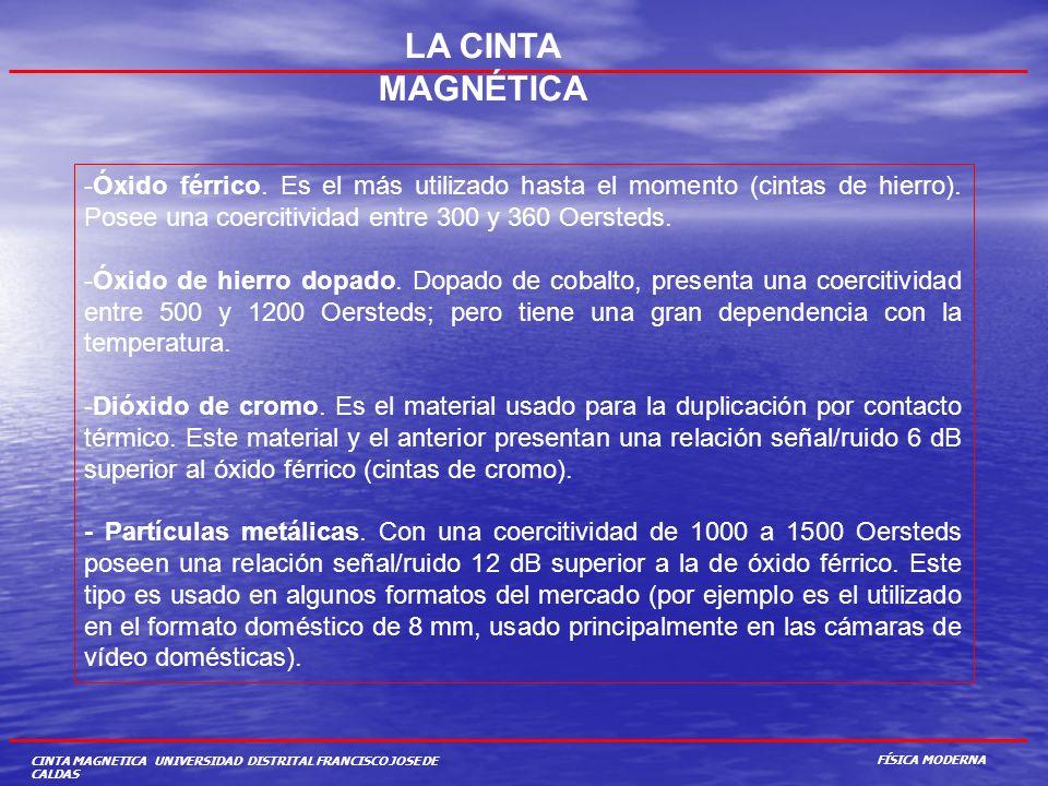 CINTA MAGNETICA UNIVERSIDAD DISTRITAL FRANCISCO JOSE DE CALDAS LA CINTA MAGNÉTICA -Óxido férrico. Es el más utilizado hasta el momento (cintas de hier
