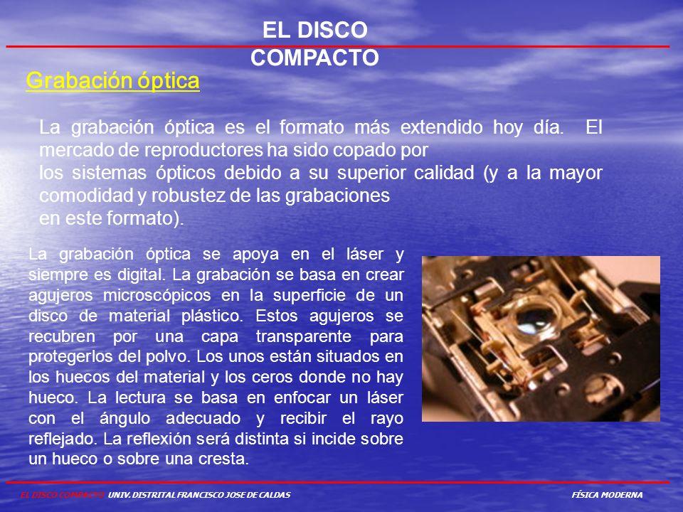 EL DISCO COMPACTO Grabación óptica La grabación óptica es el formato más extendido hoy día. El mercado de reproductores ha sido copado por los sistema