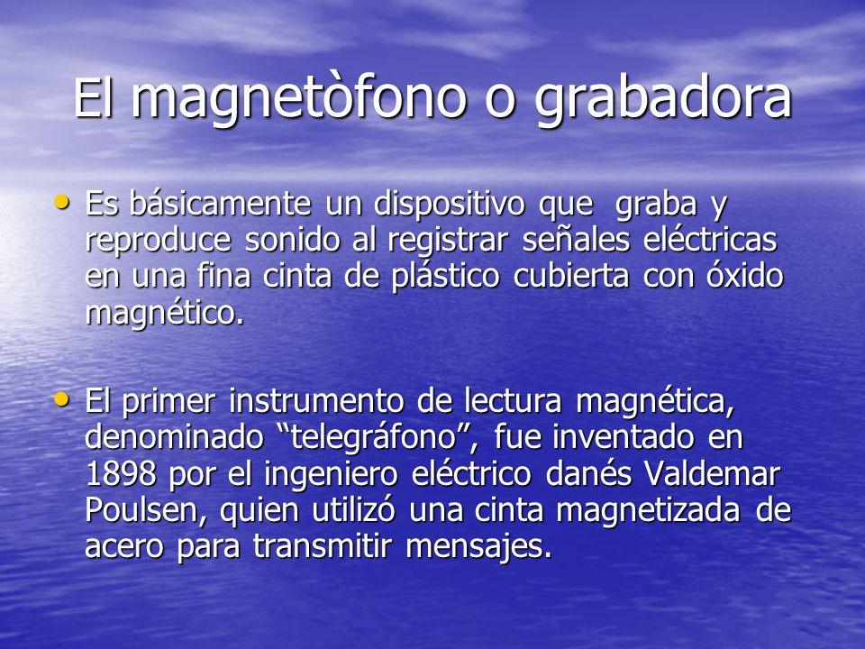 El magnetòfono o grabadora Es básicamente un dispositivo que graba y reproduce sonido al registrar señales eléctricas en una fina cinta de plástico cu