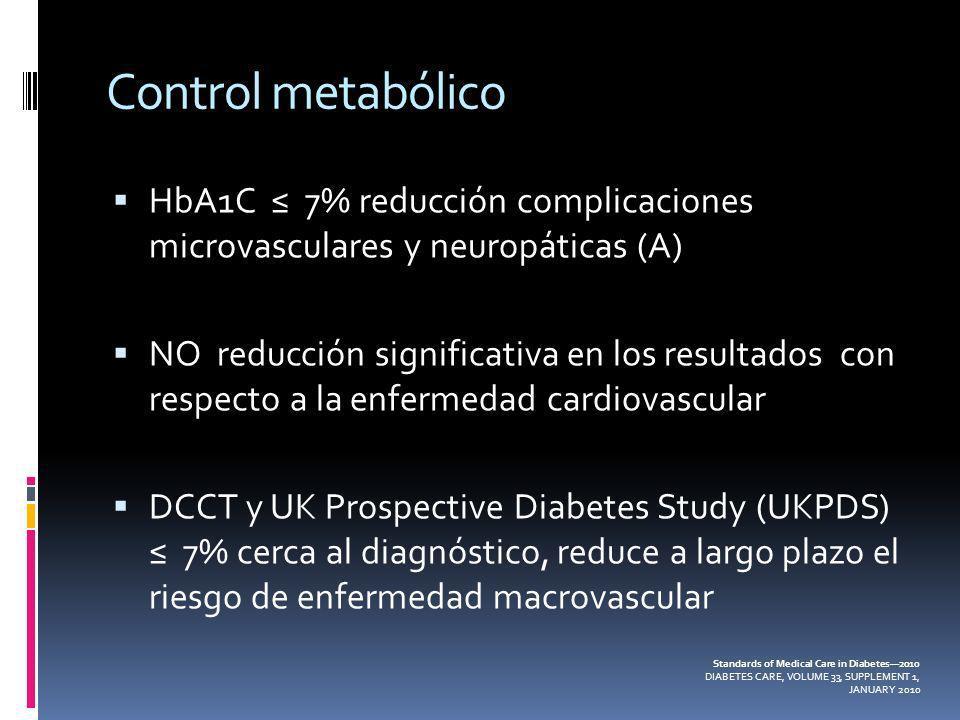 Control metabólico HbA1C 7% reducción complicaciones microvasculares y neuropáticas (A) NO reducción significativa en los resultados con respecto a la