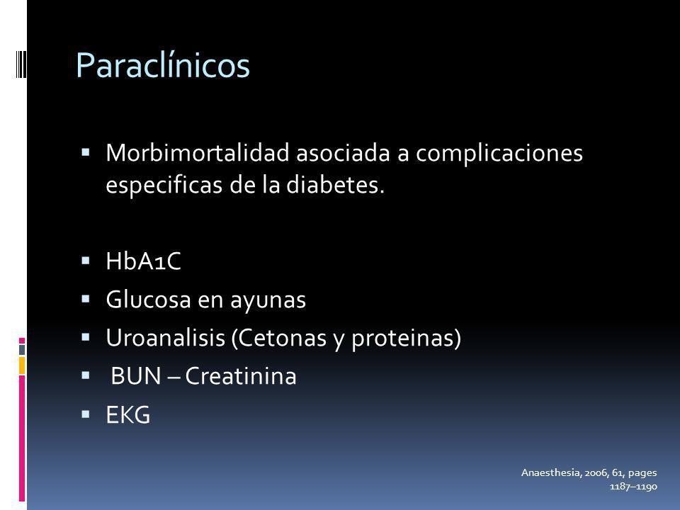 Paraclínicos Morbimortalidad asociada a complicaciones especificas de la diabetes. HbA1C Glucosa en ayunas Uroanalisis (Cetonas y proteinas) BUN – Cre