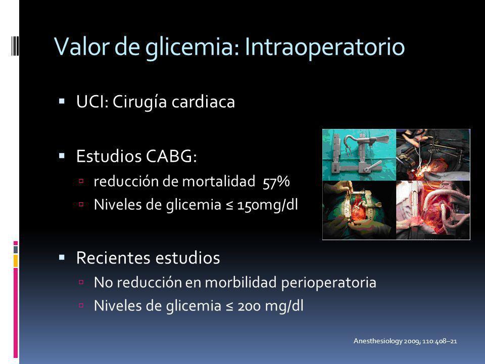 Valor de glicemia: Intraoperatorio UCI: Cirugía cardiaca Estudios CABG: reducción de mortalidad 57% Niveles de glicemia 150mg/dl Recientes estudios No
