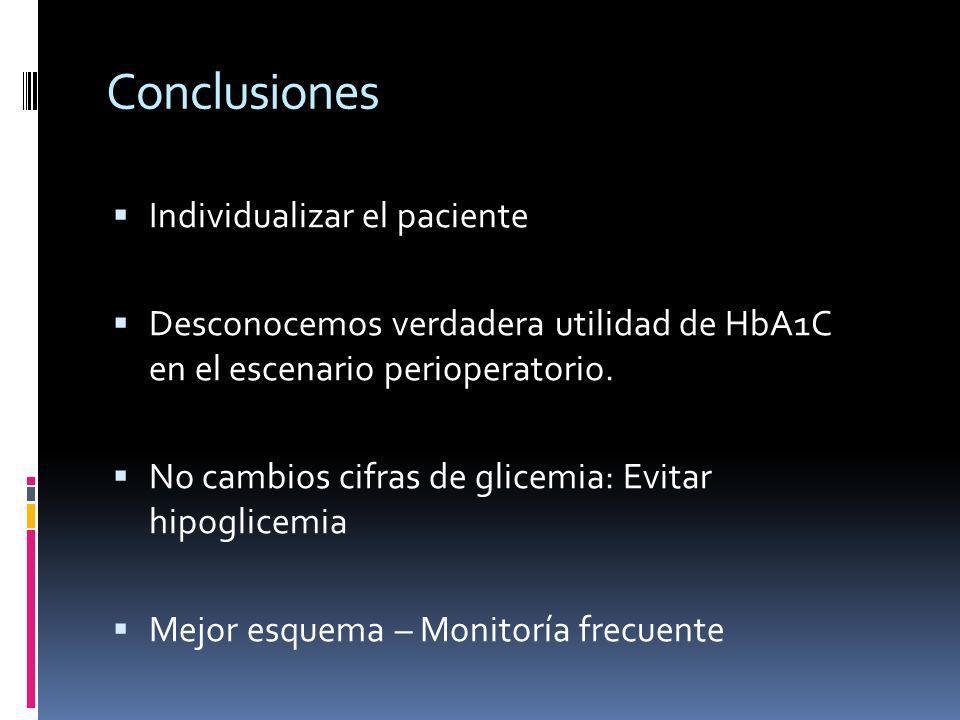 Individualizar el paciente Desconocemos verdadera utilidad de HbA1C en el escenario perioperatorio. No cambios cifras de glicemia: Evitar hipoglicemia