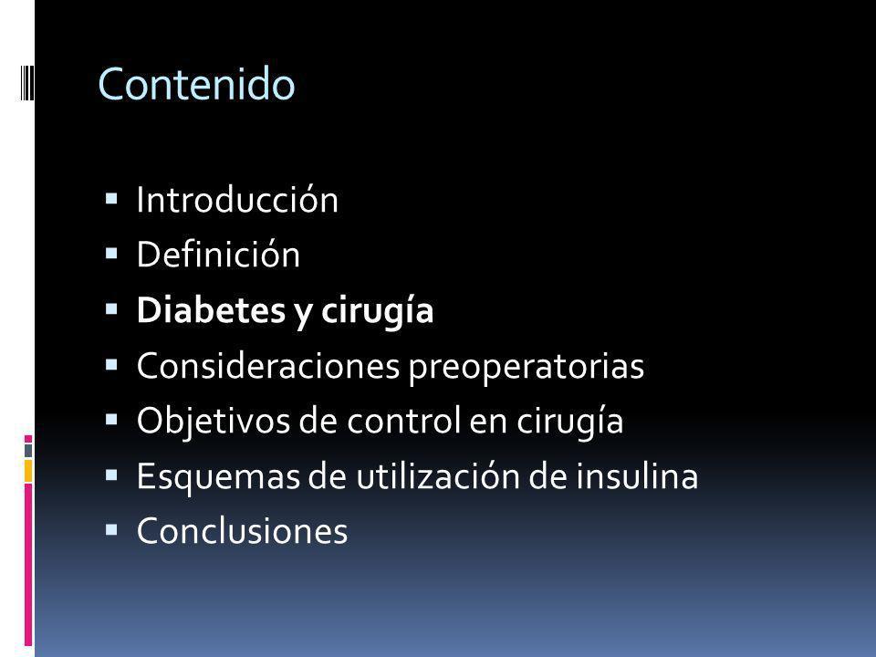 Contenido Introducción Definición Diabetes y cirugía Consideraciones preoperatorias Objetivos de control en cirugía Esquemas de utilización de insulin