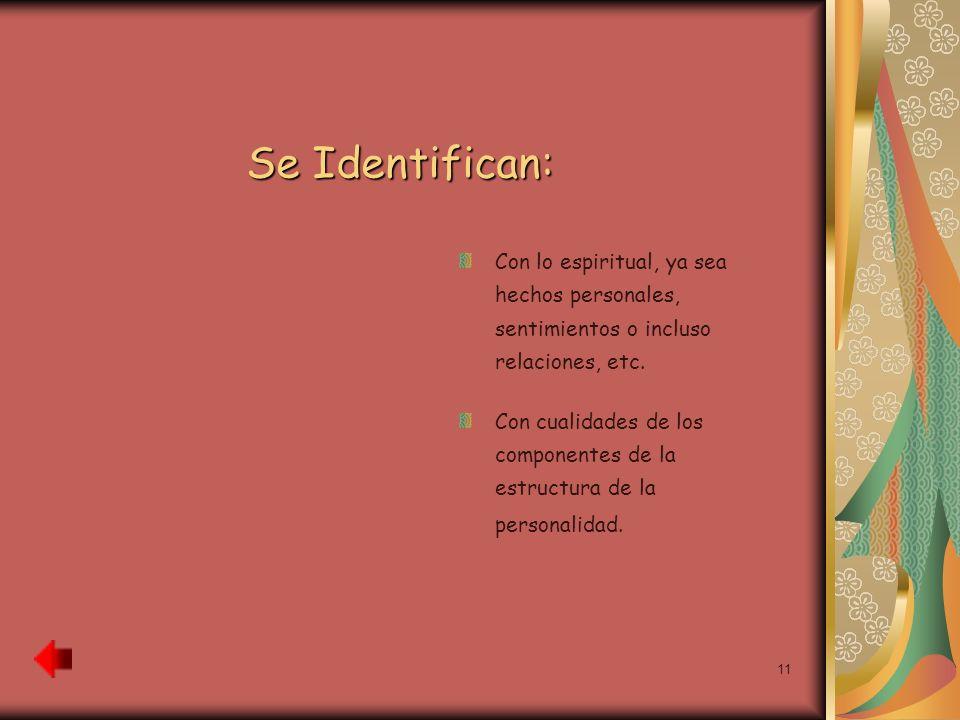 11 Se Identifican: Con lo espiritual, ya sea hechos personales, sentimientos o incluso relaciones, etc. Con cualidades de los componentes de la estruc