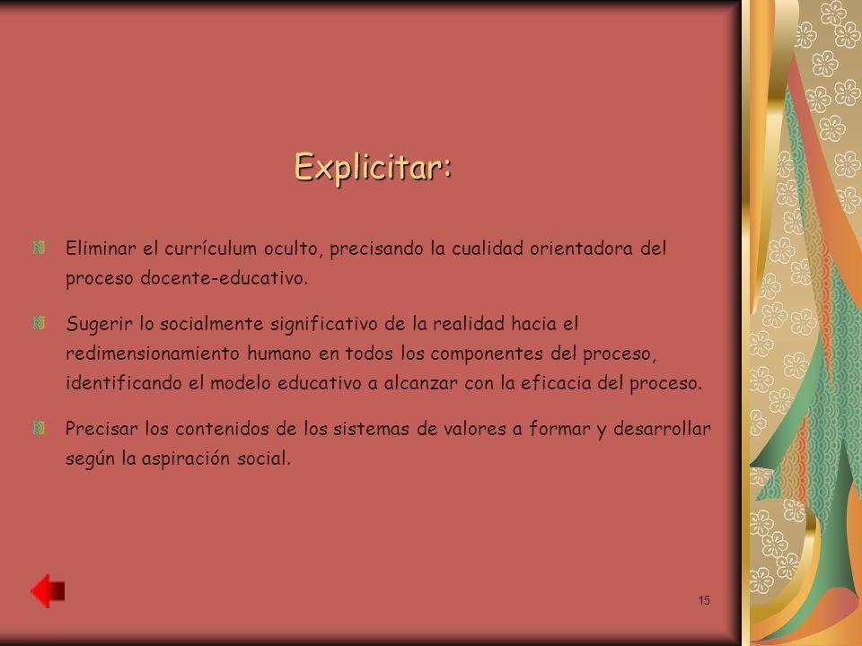 15 Explicitar: Eliminar el currículum oculto, precisando la cualidad orientadora del proceso docente-educativo. Sugerir lo socialmente significativo d