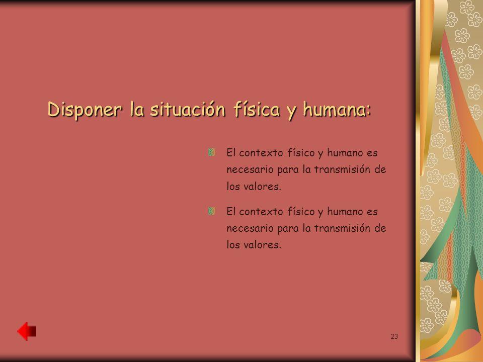 23 Disponer la situación física y humana: El contexto físico y humano es necesario para la transmisión de los valores.