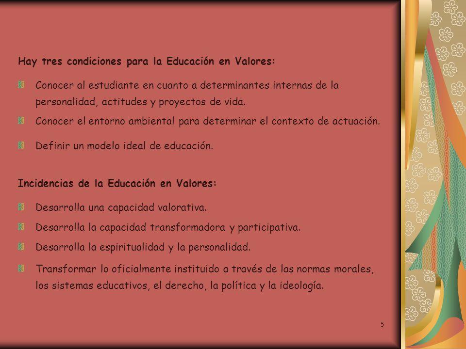 5 Hay tres condiciones para la Educación en Valores: Conocer al estudiante en cuanto a determinantes internas de la personalidad, actitudes y proyecto