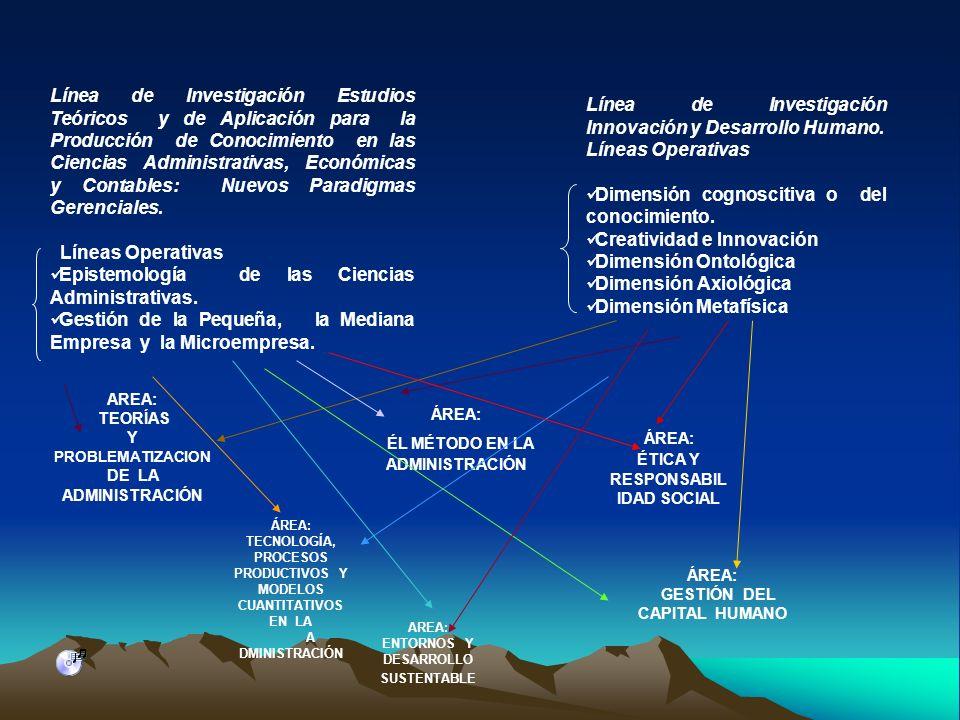 Línea de Investigación Estudios Teóricos y de Aplicación para la Producción de Conocimiento en las Ciencias Administrativas, Económicas y Contables: N