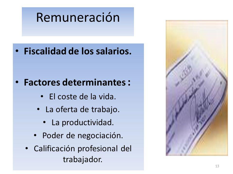 13 Remuneración Fiscalidad de los salarios. Factores determinantes : El coste de la vida. La oferta de trabajo. La productividad. Poder de negociación