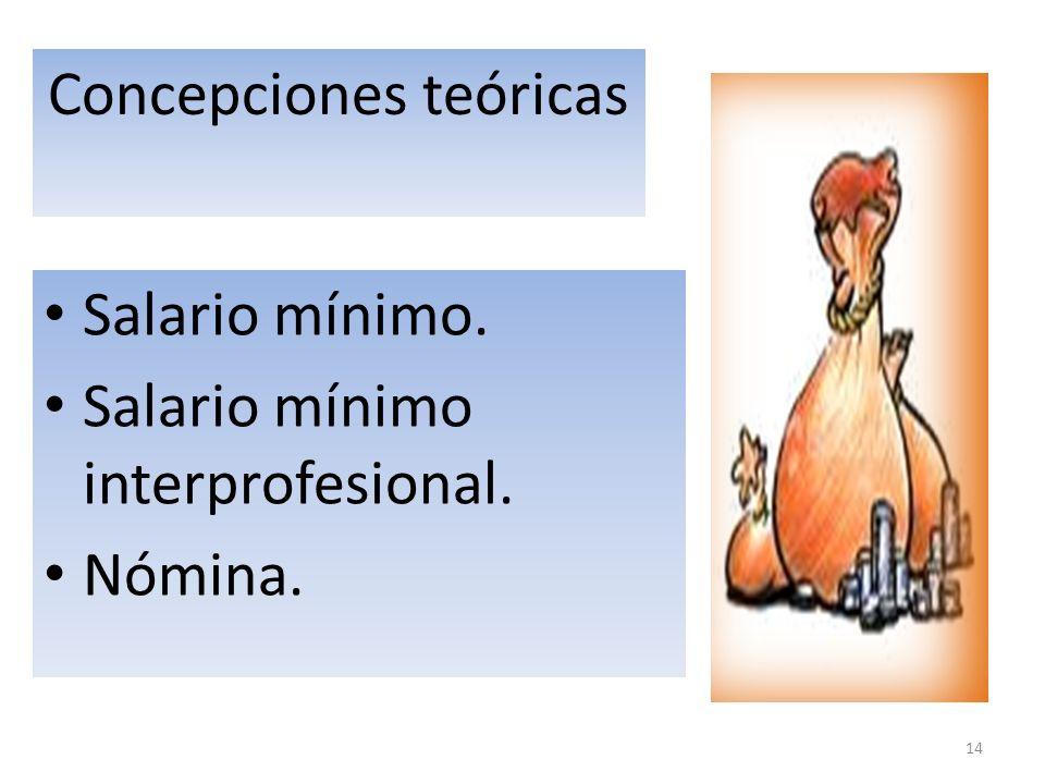 14 Concepciones teóricas Salario mínimo. Salario mínimo interprofesional. Nómina.
