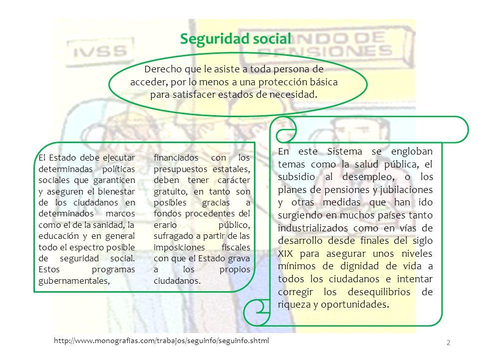 2 Derecho que le asiste a toda persona de acceder, por lo menos a una protección básica para satisfacer estados de necesidad. Seguridad social El Esta