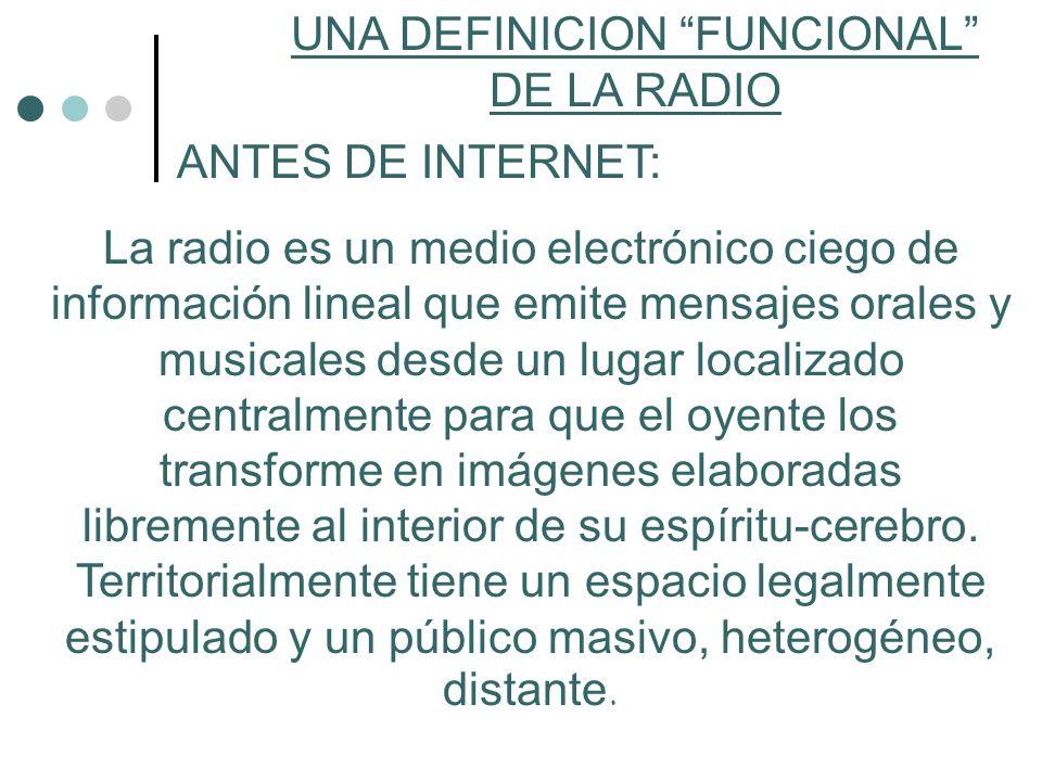 UNA DEFINICION FENOMENOLÓGICA DE LA RADIO CON INTERNET: La radio es un medio electrónico de información visual que comparte mensajes orales y musicales desde un lugar localizado centralmente para un oyente que puede estar en tiempo real en cualquier parte del Mundo.