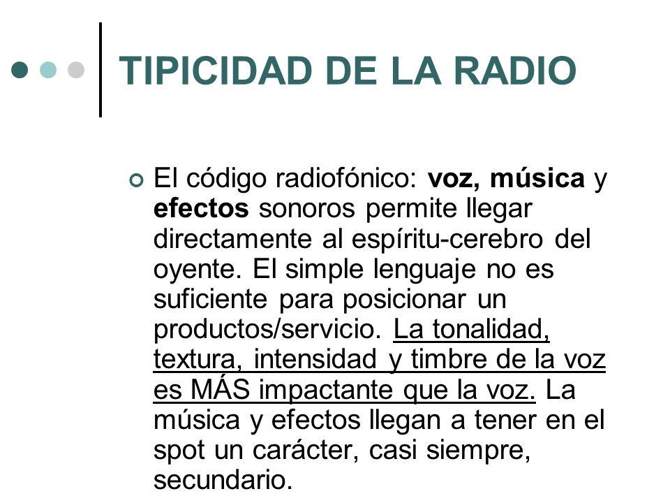 TIPICIDAD DE LA RADIO El código radiofónico: voz, música y efectos sonoros permite llegar directamente al espíritu-cerebro del oyente. El simple lengu