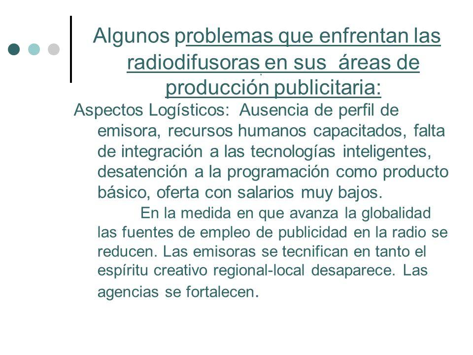 Algunos problemas que enfrentan las radiodifusoras en sus áreas de producción publicitaria: Aspectos Logísticos: Ausencia de perfil de emisora, recurs