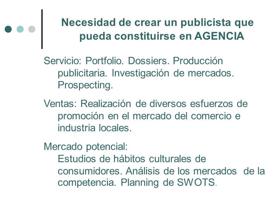 Necesidad de crear un publicista que pueda constituirse en AGENCIA Servicio: Portfolio. Dossiers. Producción publicitaria. Investigación de mercados.