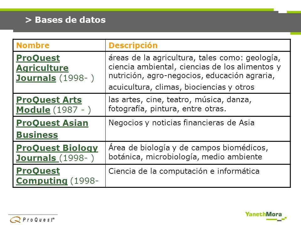 > Bases de datos NombreDescripción ProQuest Children s…ProQuest Children s… (1988- Temas relacionados con los niños.