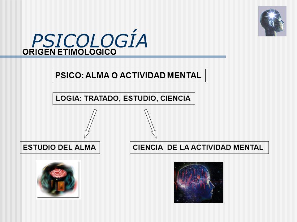 PSICOLOGÍA ORIGEN ETIMOLOGICO PSICO: ALMA O ACTIVIDAD MENTAL LOGIA: TRATADO, ESTUDIO, CIENCIA ESTUDIO DEL ALMACIENCIA DE LA ACTIVIDAD MENTAL